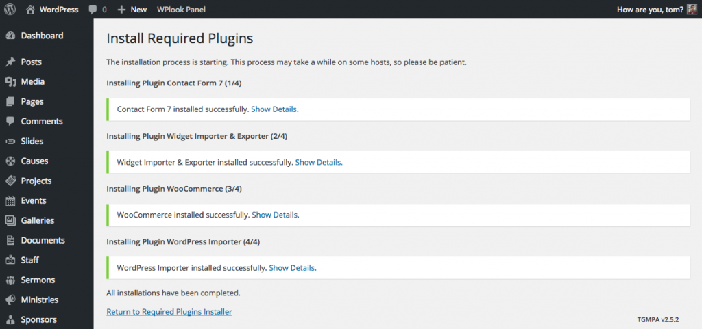 All plugins have been installed successfully.