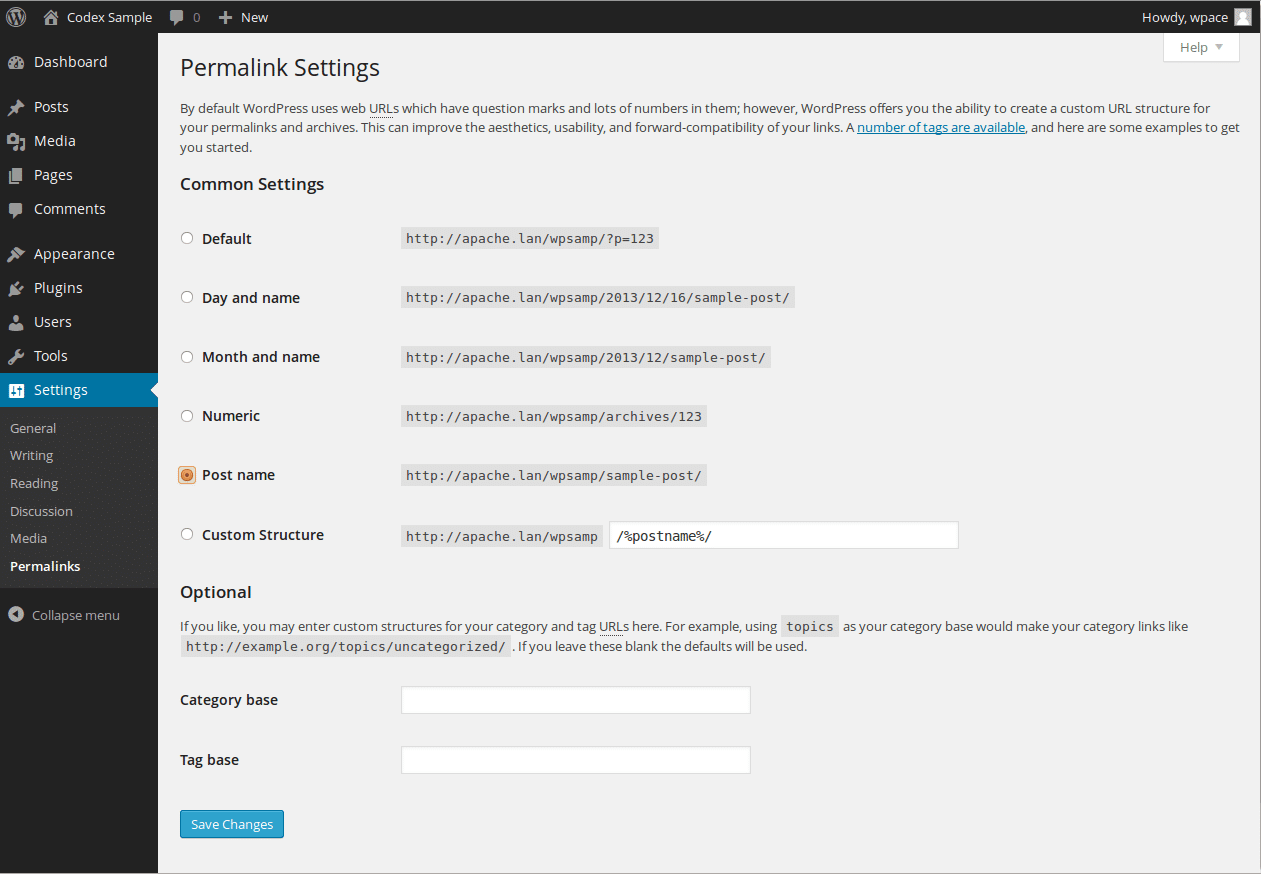Settings Permalinks