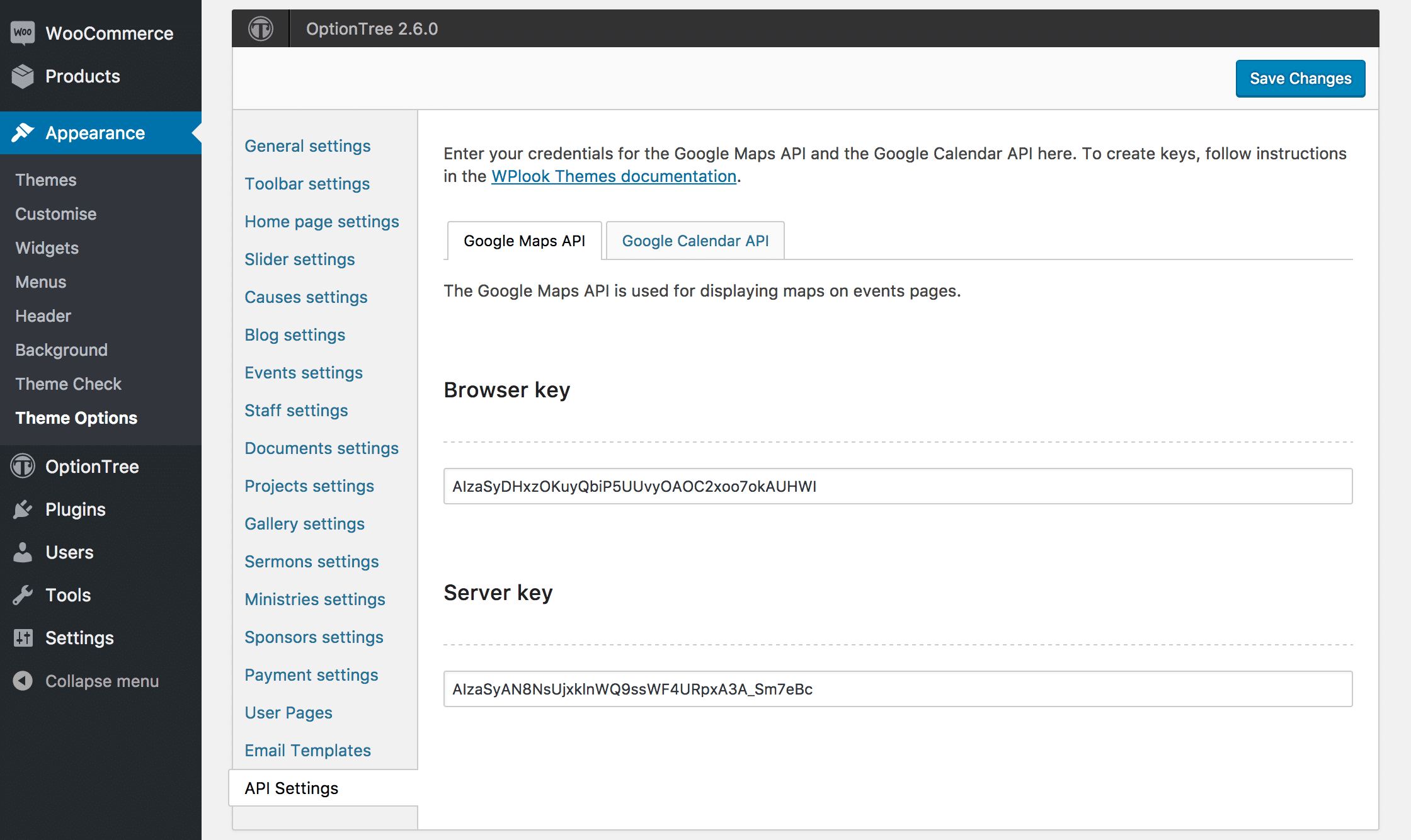 the browser and server api keys in theme options. google maps settings  wplook documentation