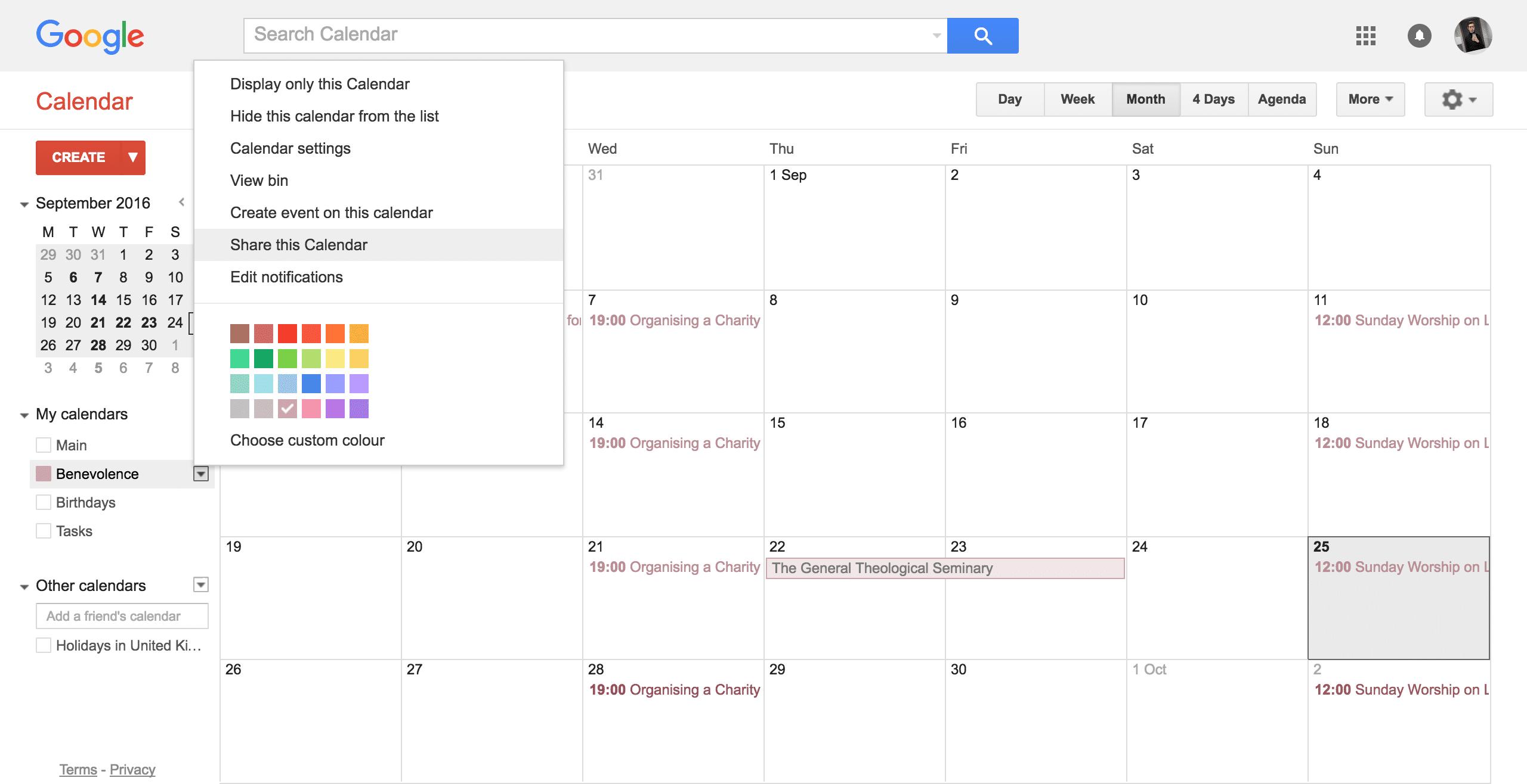 The main screen of Google Calendar.