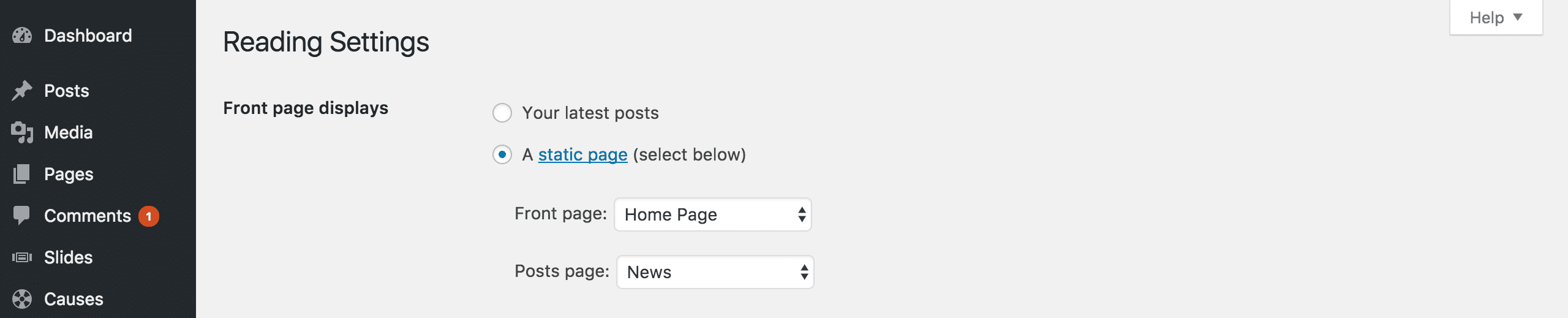 Editing Reading Settings to give your site a static home page.