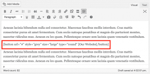 Post content with an example shortcode highlighted.
