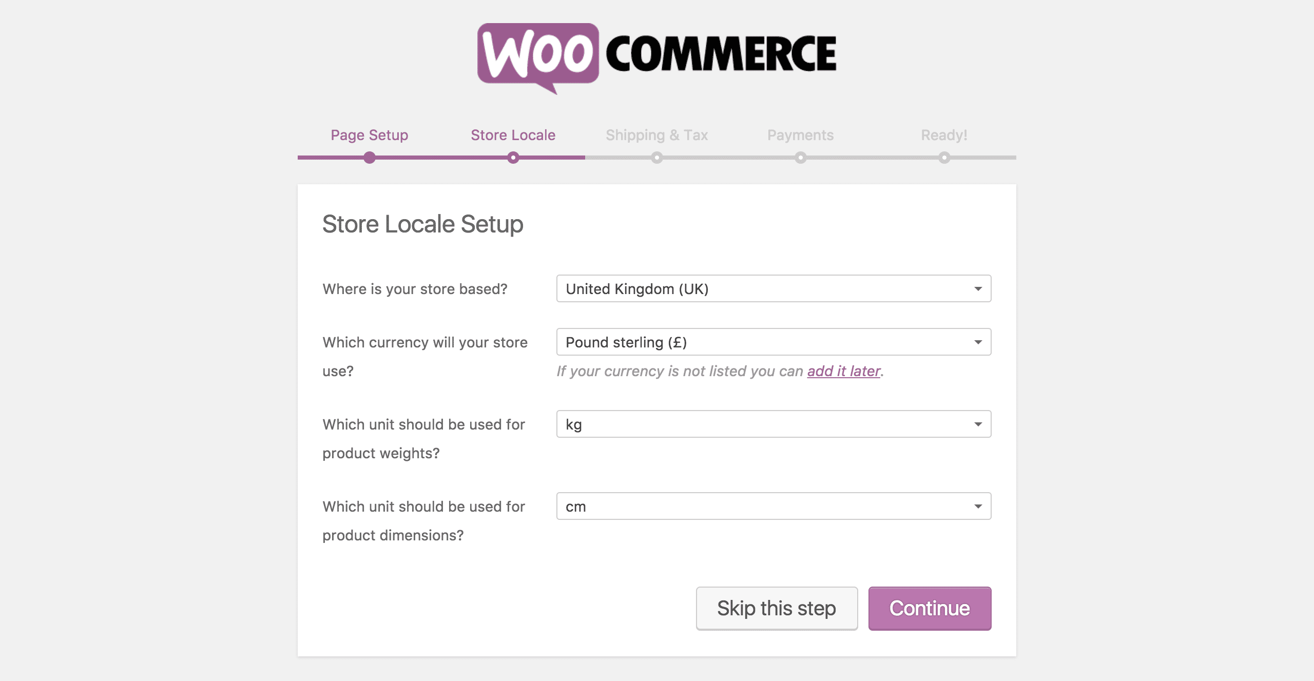 The third step of the WooCommerce Setup Wizard.
