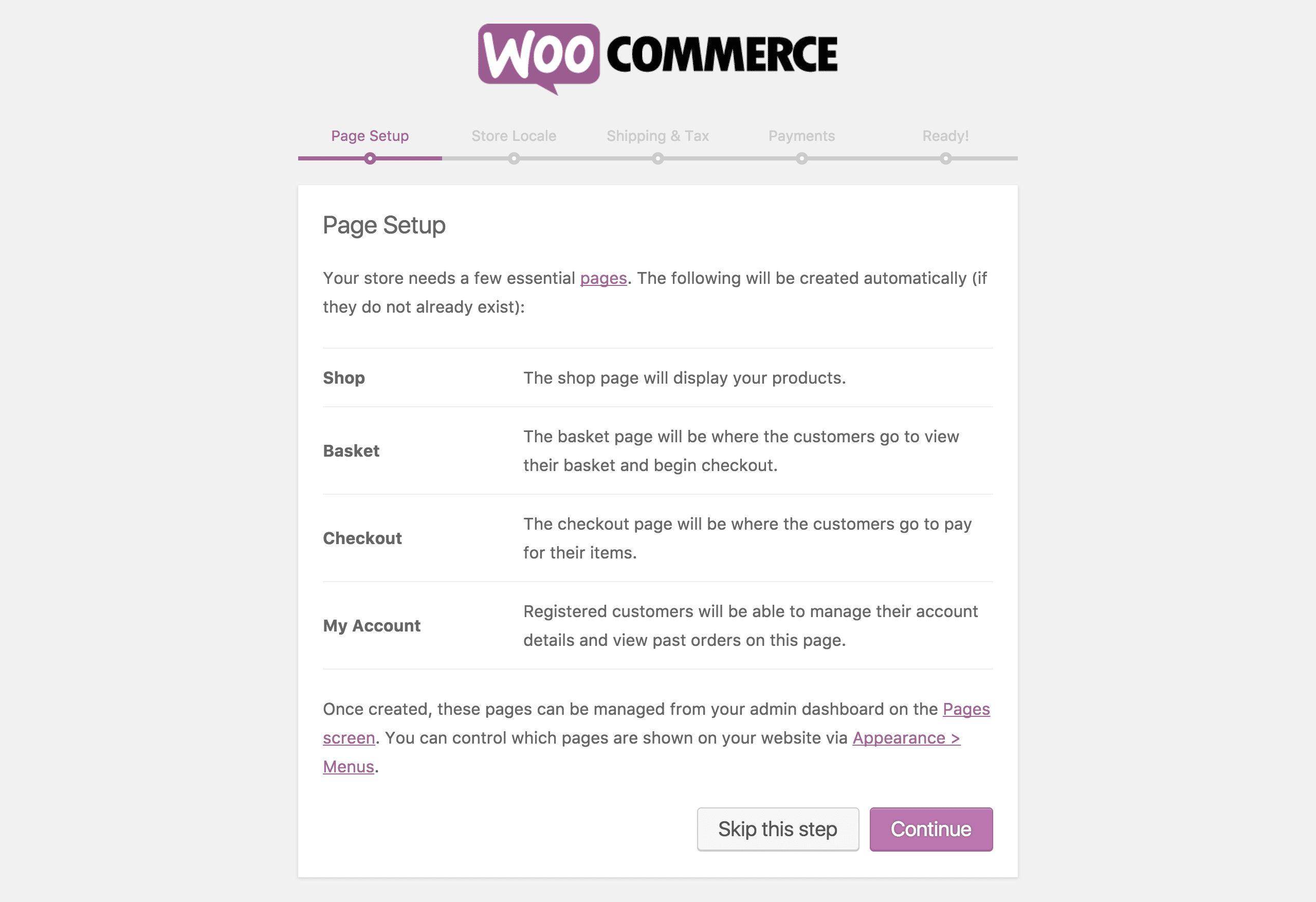 Second step of the WooCommerce Setup Wizard.