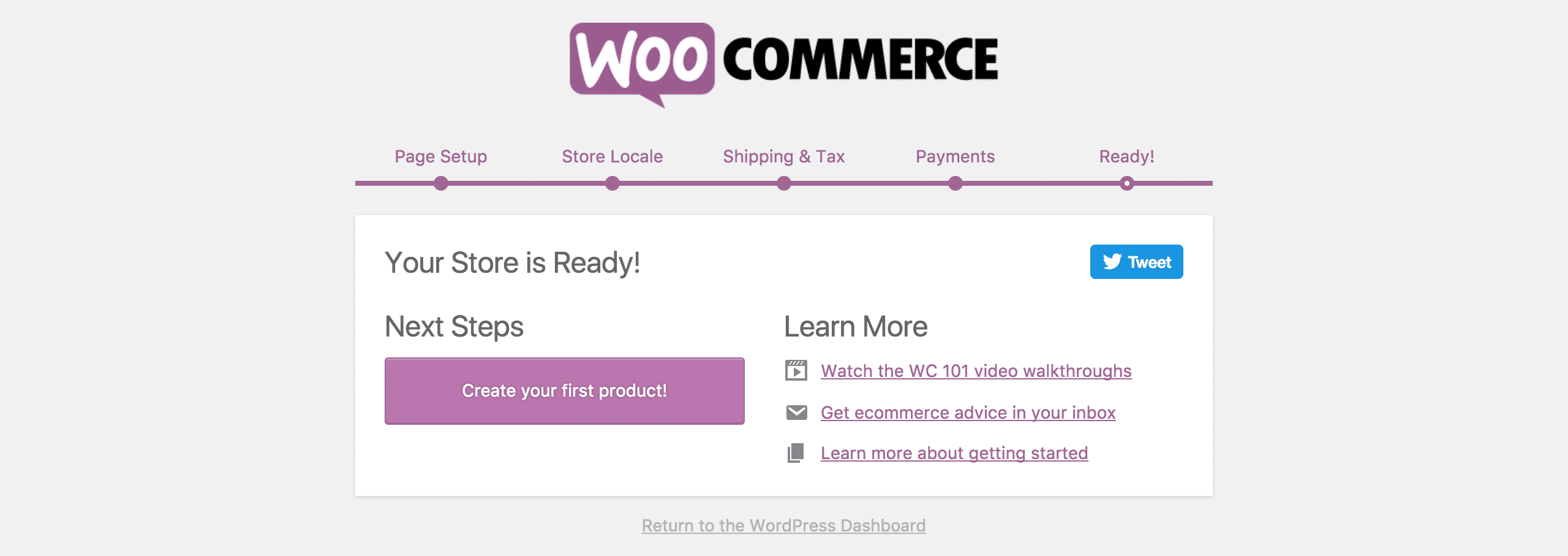 Congratulations, you've set up your WooCommerce store!