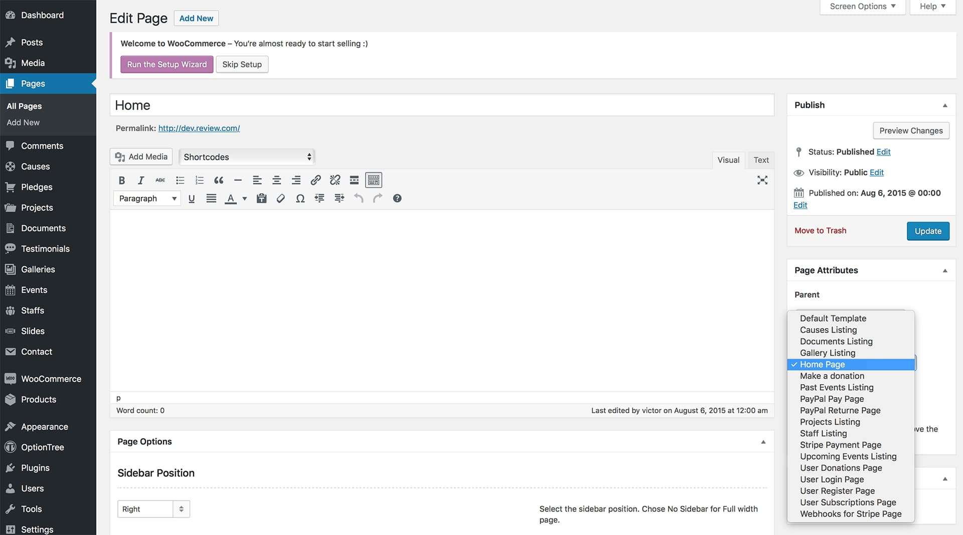 The page editor displaying the home page, with the Template set to Home page.