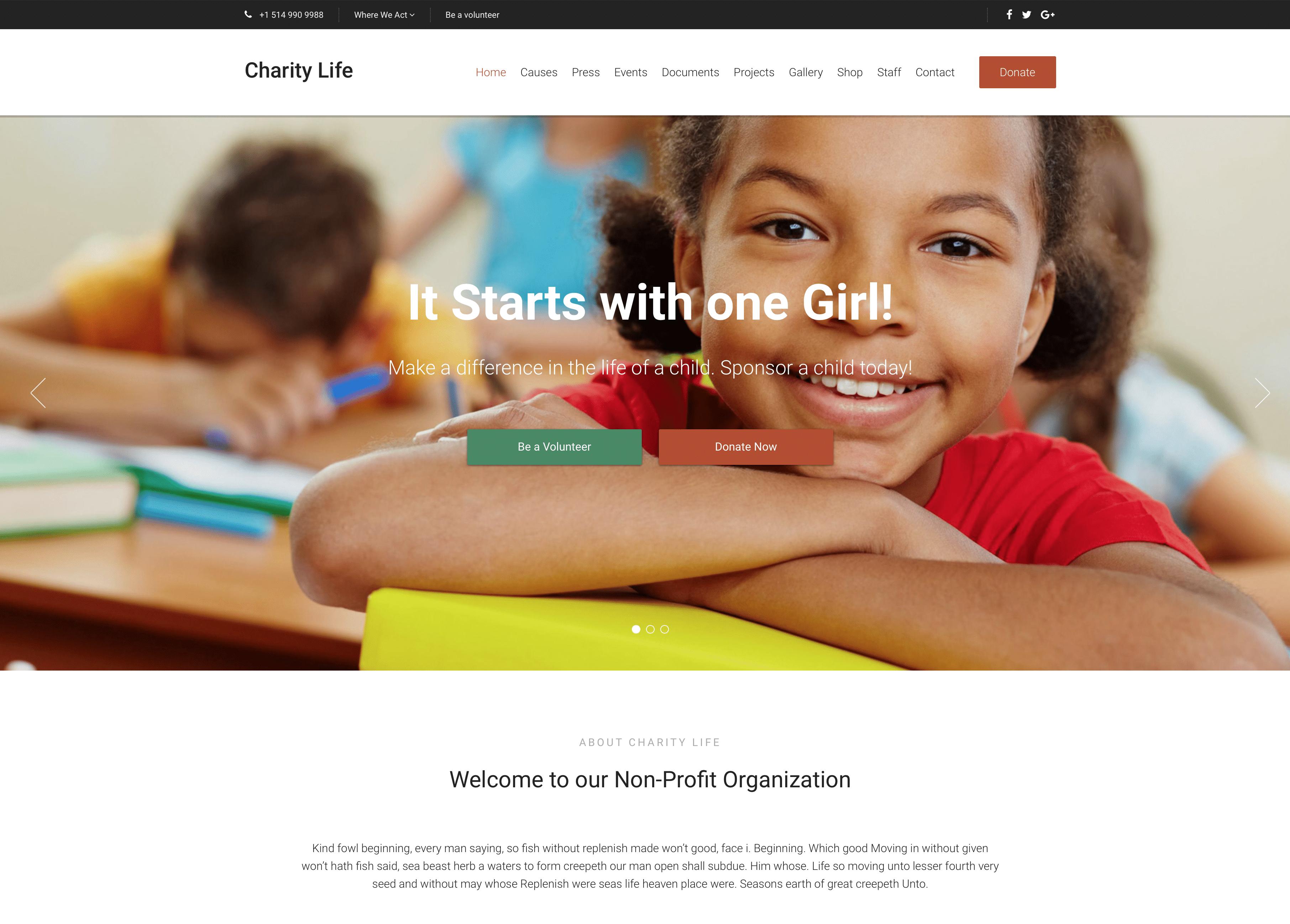 CharityLife WordPress Theme
