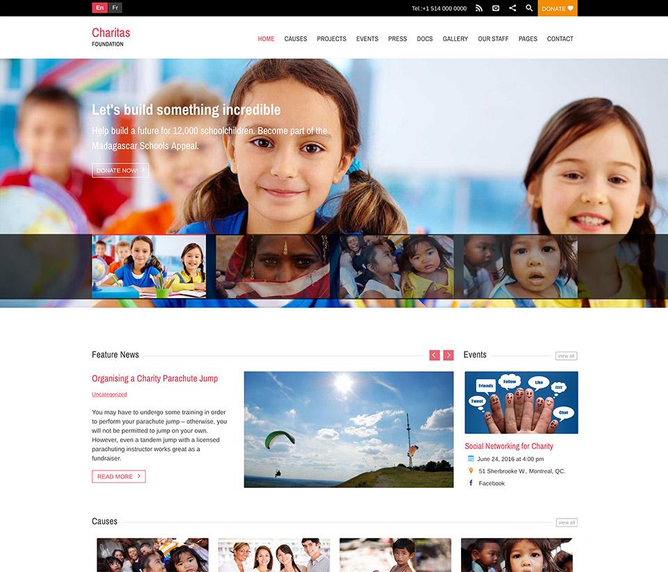 wordpress charitas theme help