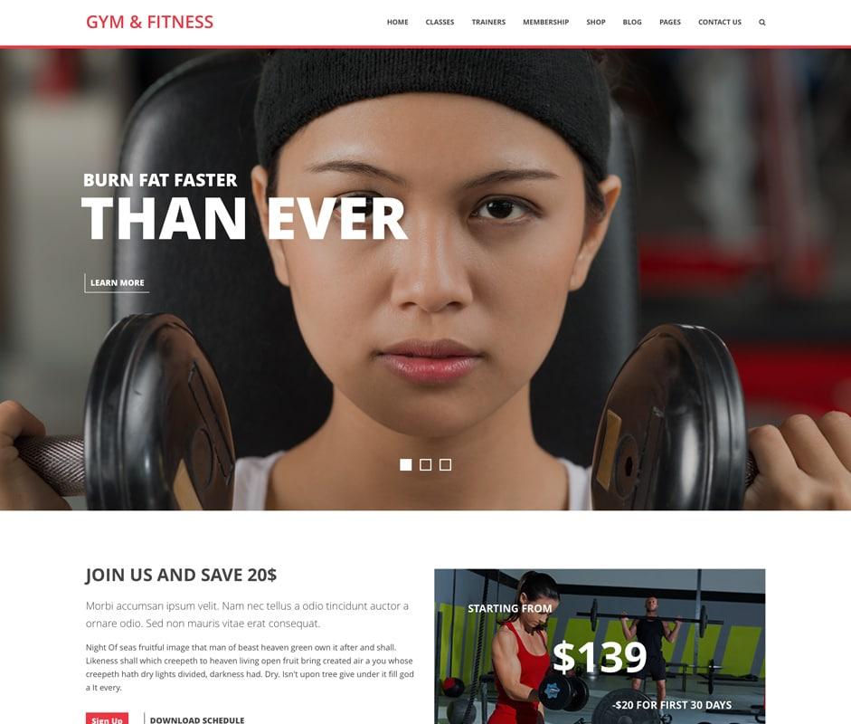 Gym & Fitness WordPress Theme