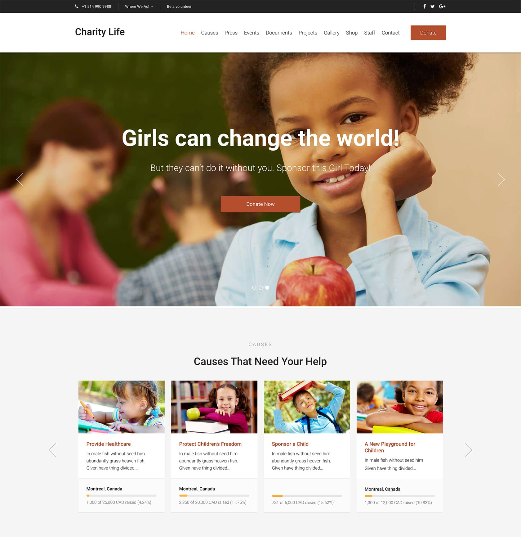 Charity Life WordPress Theme for Churches