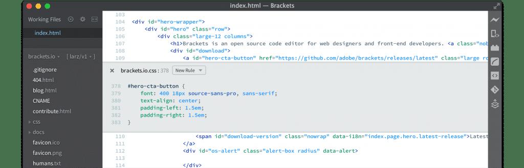 Brackets code editors