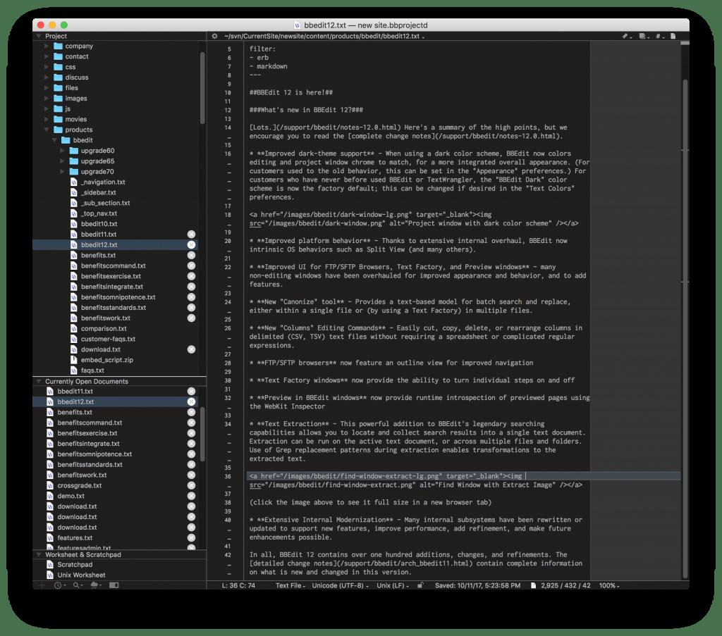 TextWrangler code editor