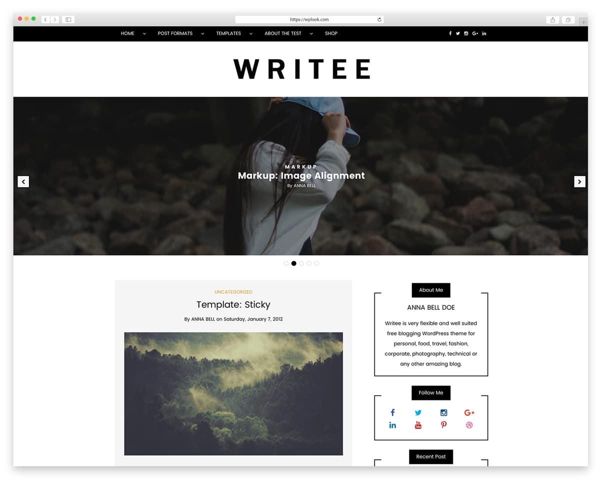 Writee Beautiful Free Personal Blog