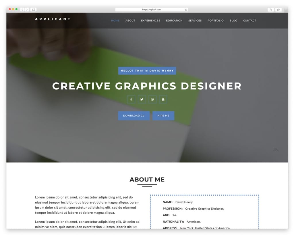 Applicant Website Template