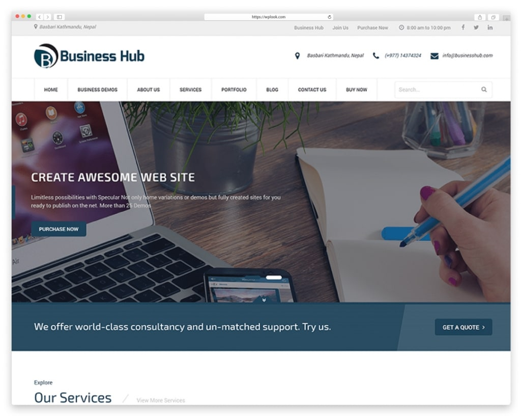 Business Hub - Free Responsive WordPress Theme