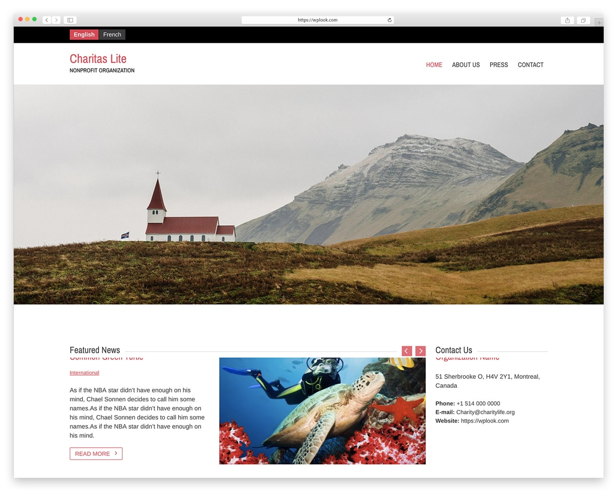 Charitas Lite - Free Responsive WordPress Theme