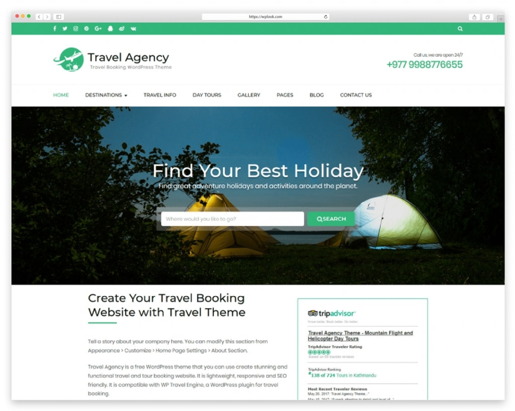Travel Agency - Free Responsive WordPress Theme