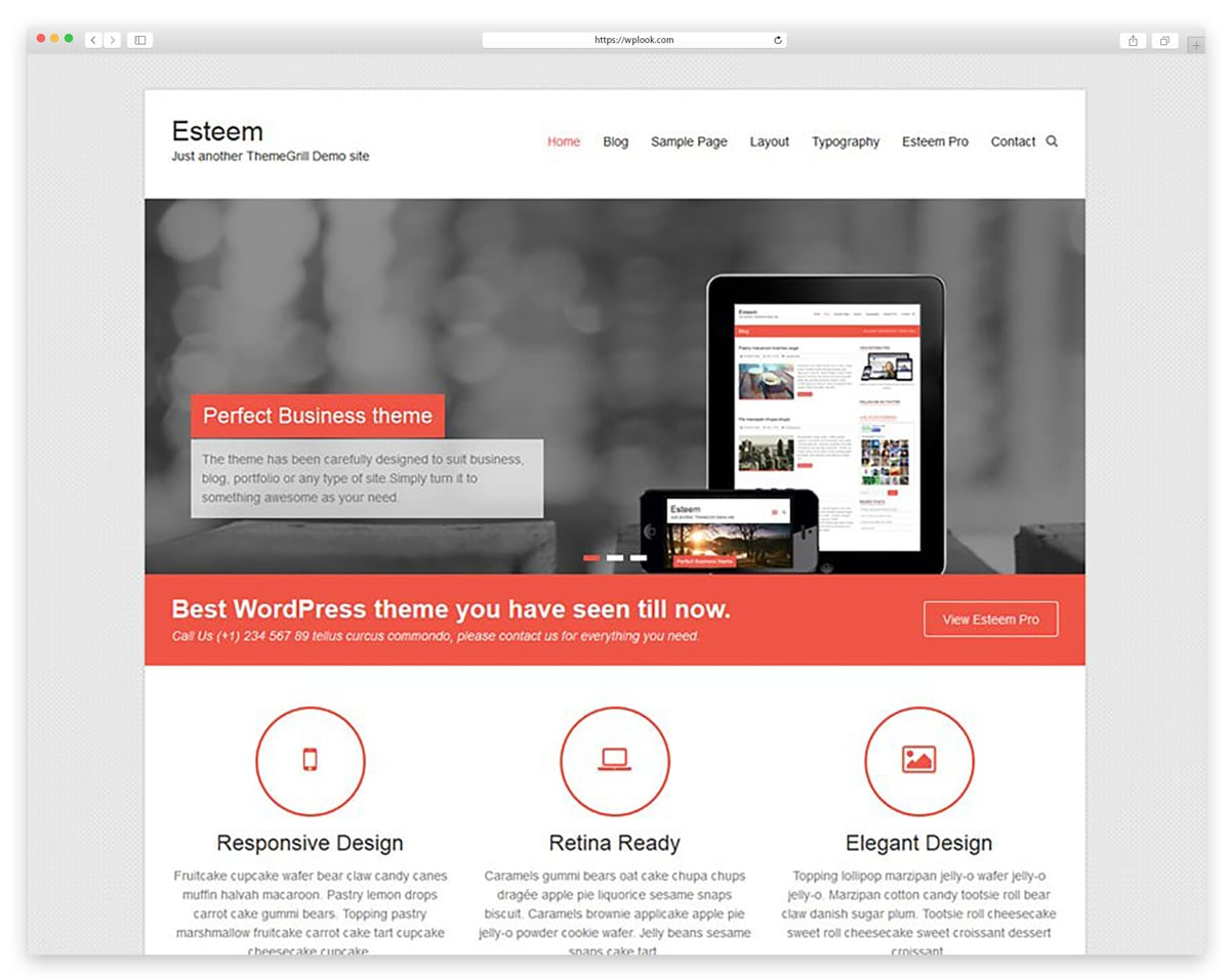 Esteem - Free responsive WordPress Theme