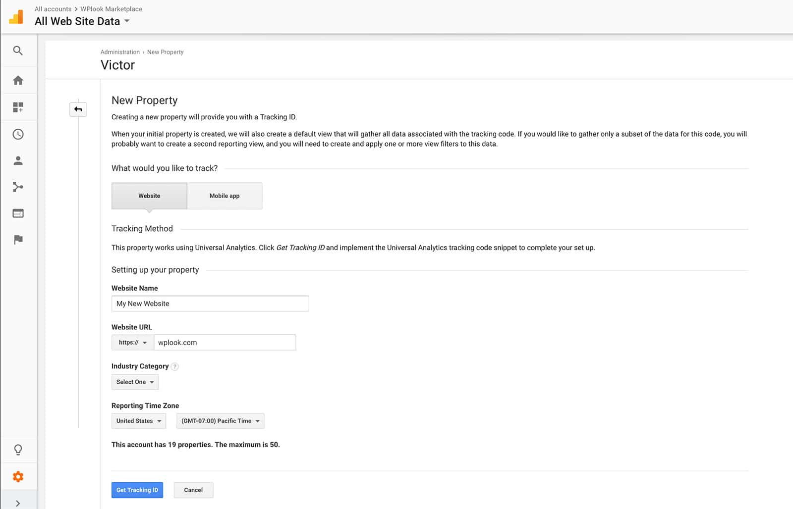 Google Analytics - Creating a new property.