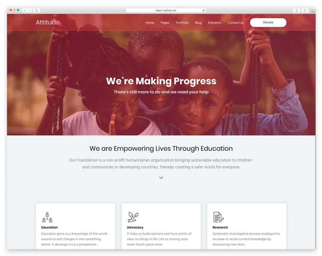 Attitude WordPress Theme for Charity