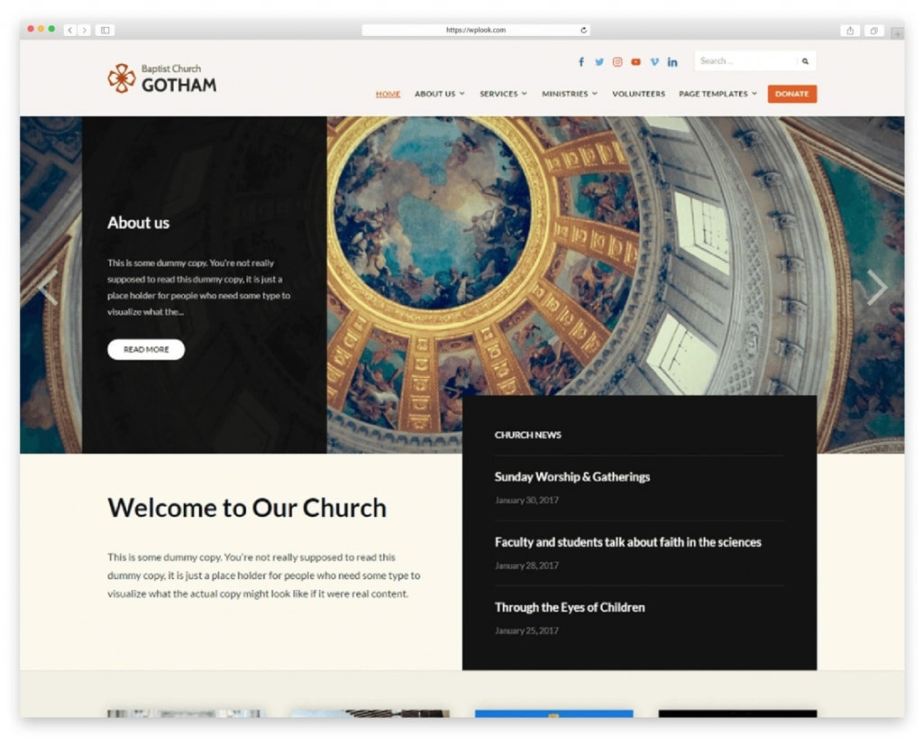 Faith Free WordPress Theme for Church