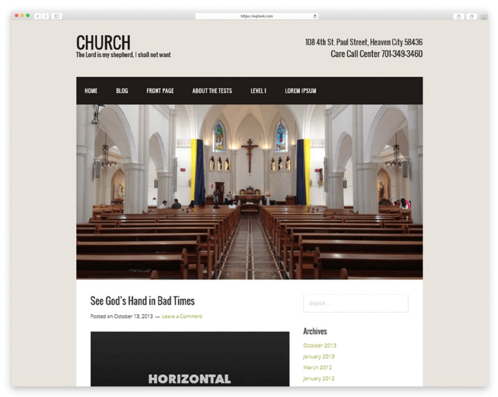 Church Free WordPress Theme for Non Profit