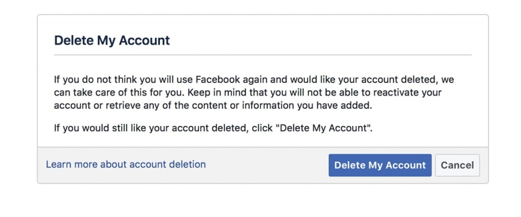 "Click on ""Delete My Account"""