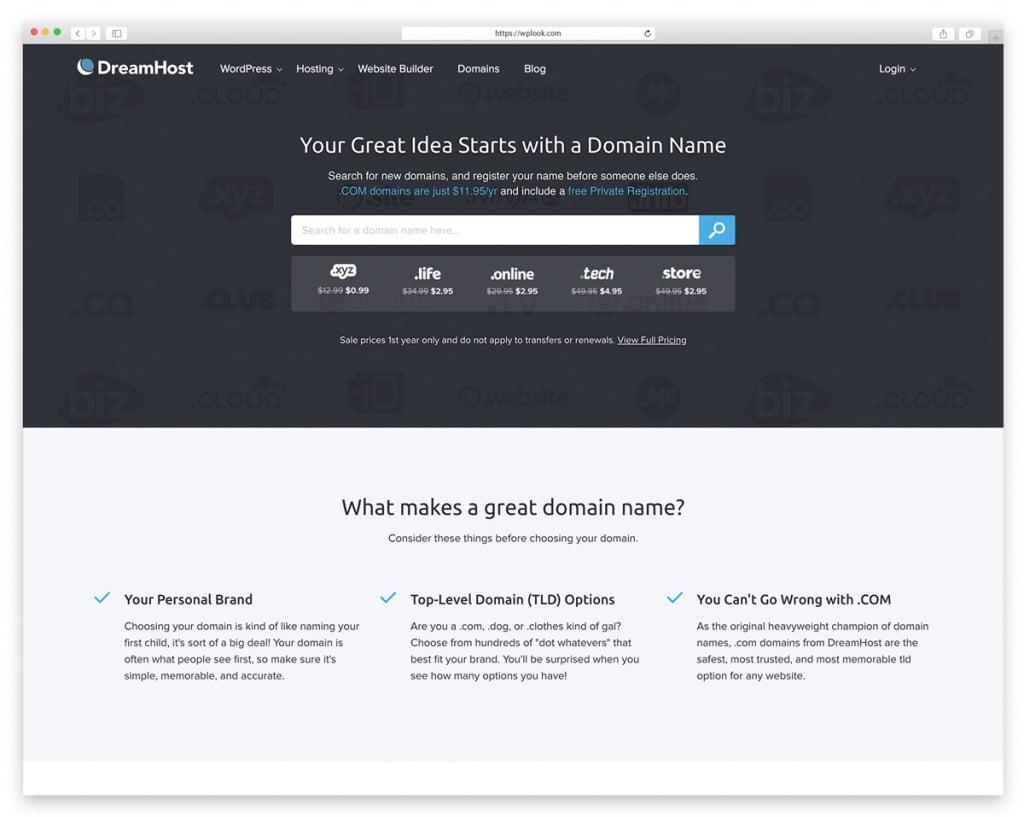 DreamHost - Website Domain Name Register