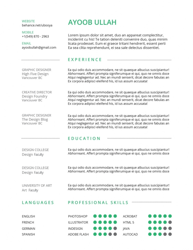 Best Free Resumes Template For Your Cv  Wplook Themes