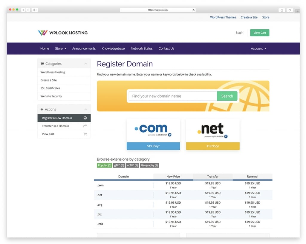 WPlook - Website Domain Name Registrar