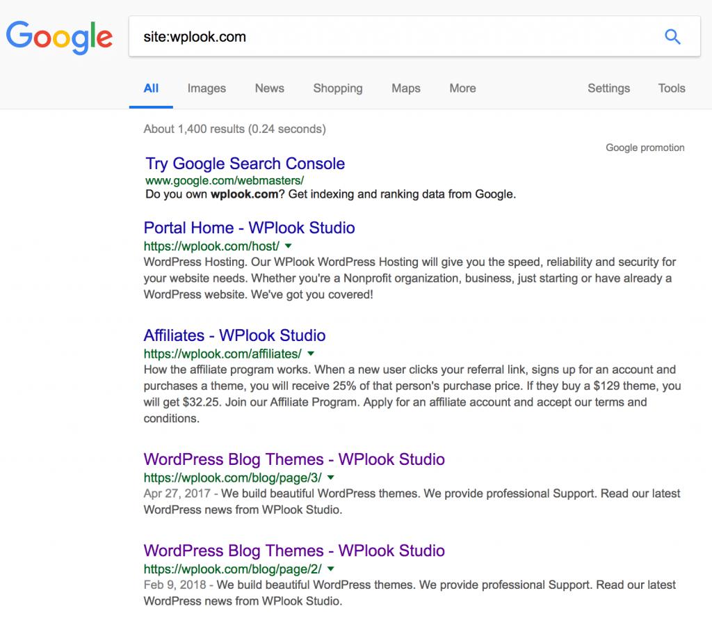 WPlook Website Indexed