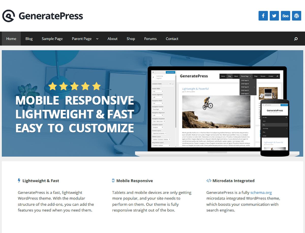 GeneratePress - responsive WordPress theme