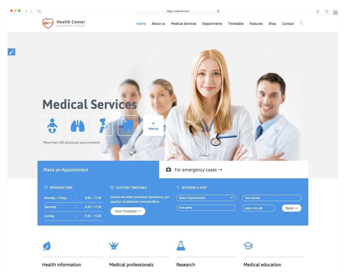 Health Center - WordPress Theme for Doctors