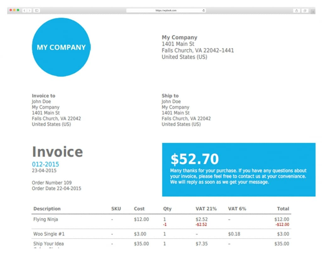 Download WooCommerce PDF Invoices