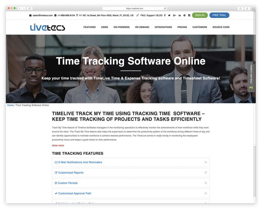 TimeLive - Web Based Timesheet Software