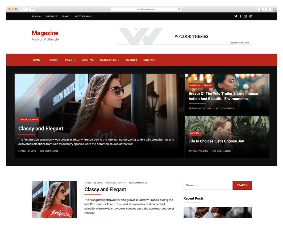 Magazine -Magazine - LifeStyle WordPress ThemeWordPress Theme for Photograph Bloggers.