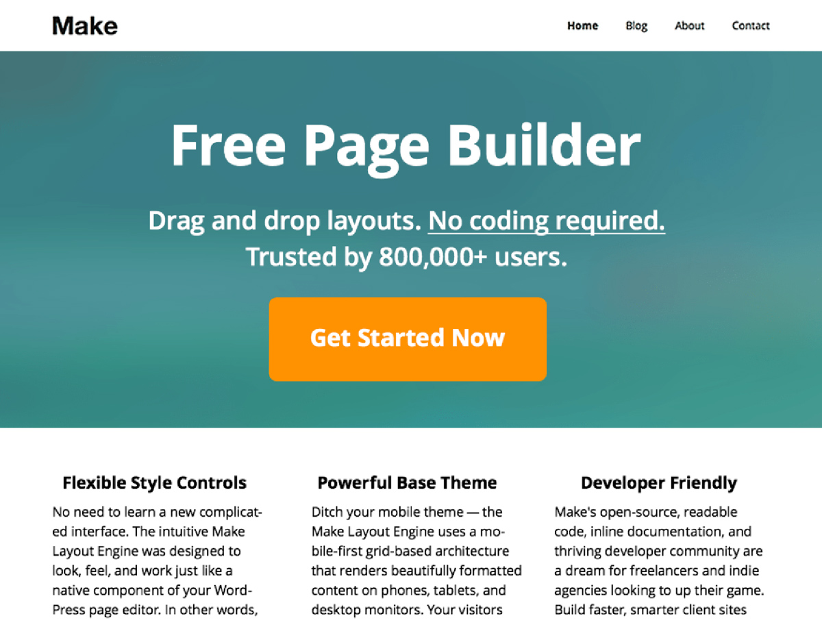 Make - drag and drop page builder
