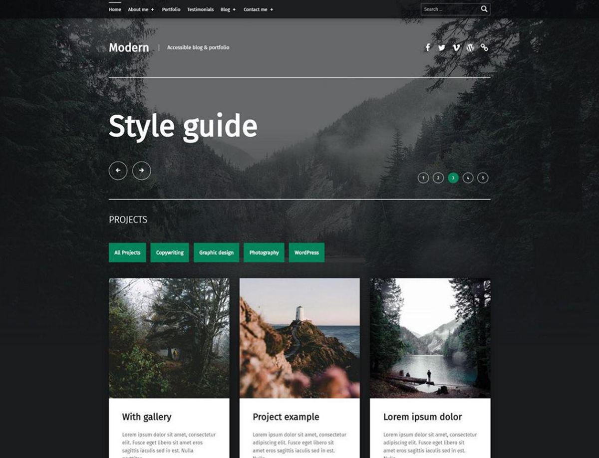 Modern - Free Portfolio WordPress theme