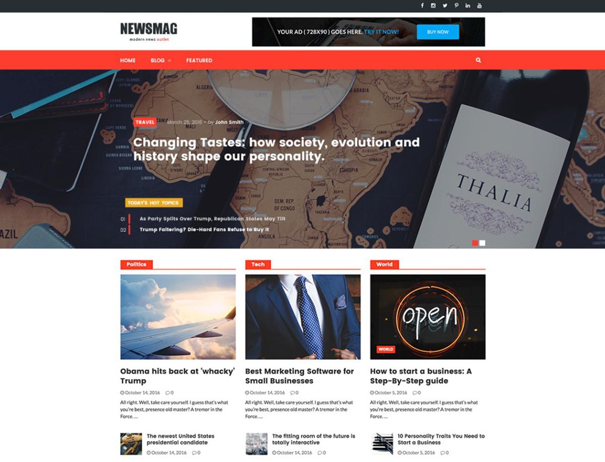 NewsMag - Free news or blog WordPress theme