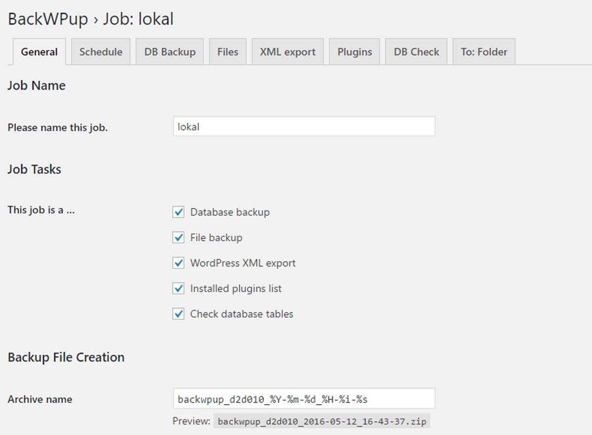 BackWPup – WordPress Backup Plugin