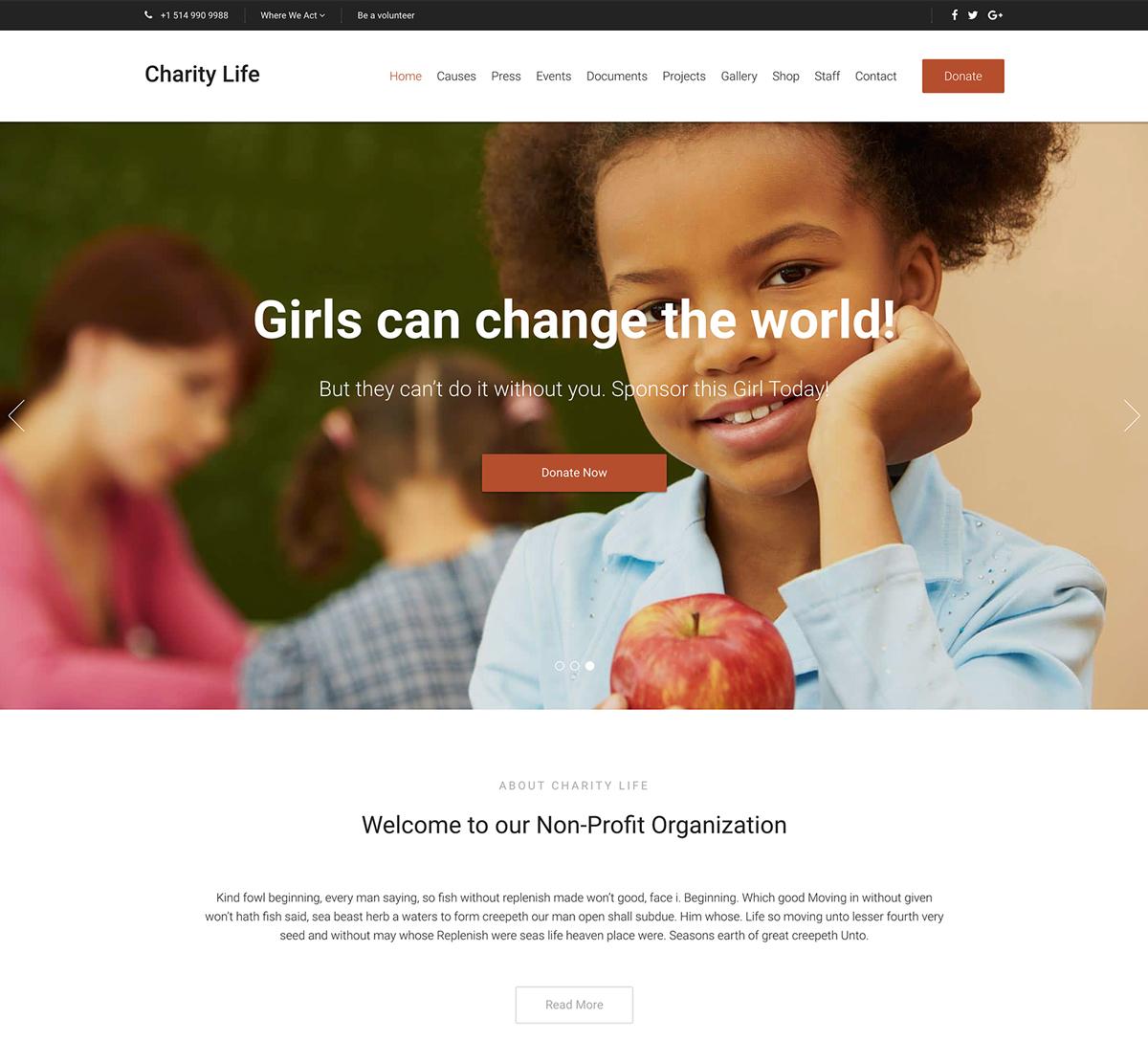 Charity Life WordPress Theme