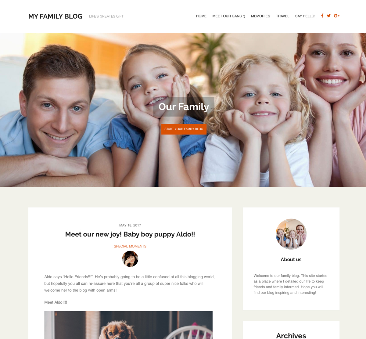 Family Blog WordPress Theme