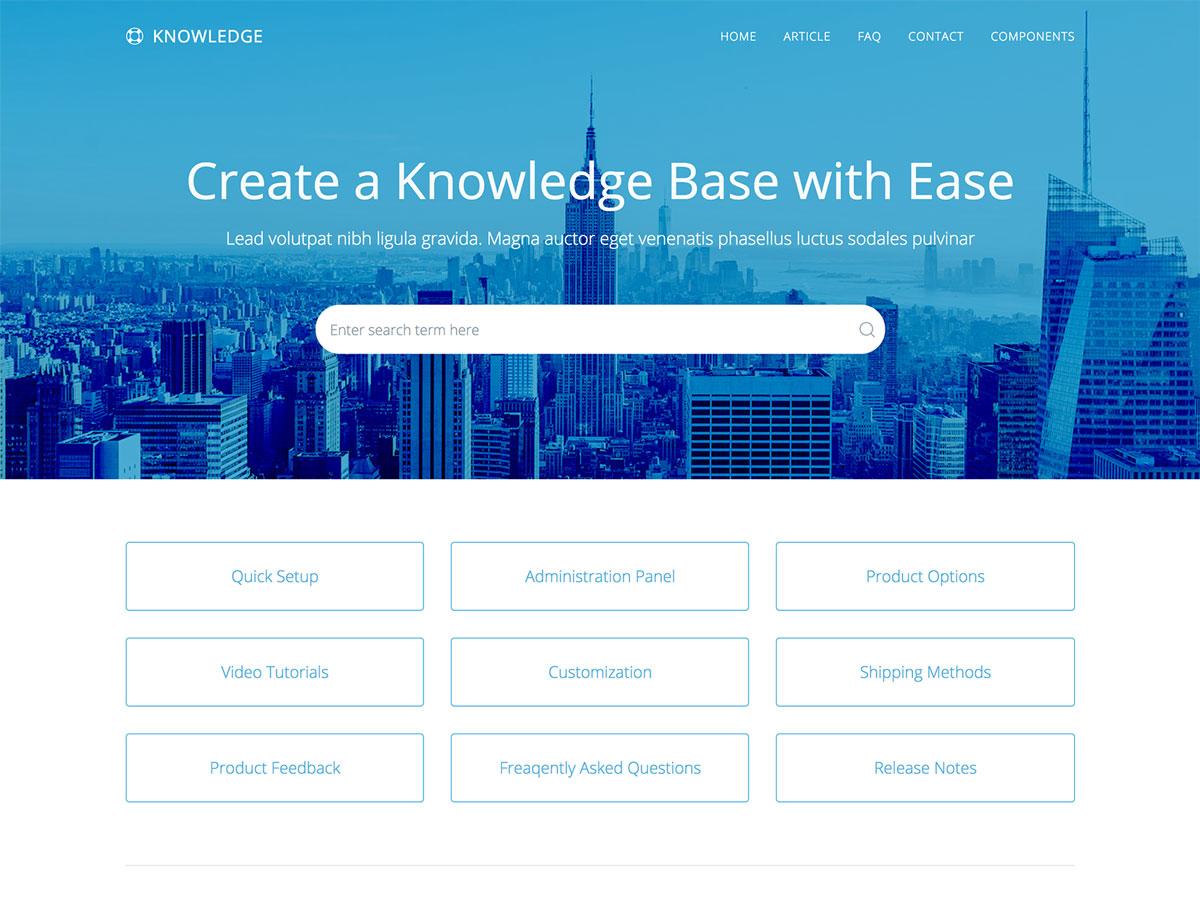 Knowledge - Responsive Knowledge Base & FAQ HTML Template