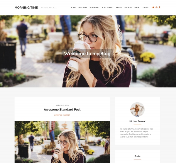 Morning Time WordPress Theme for Blogs