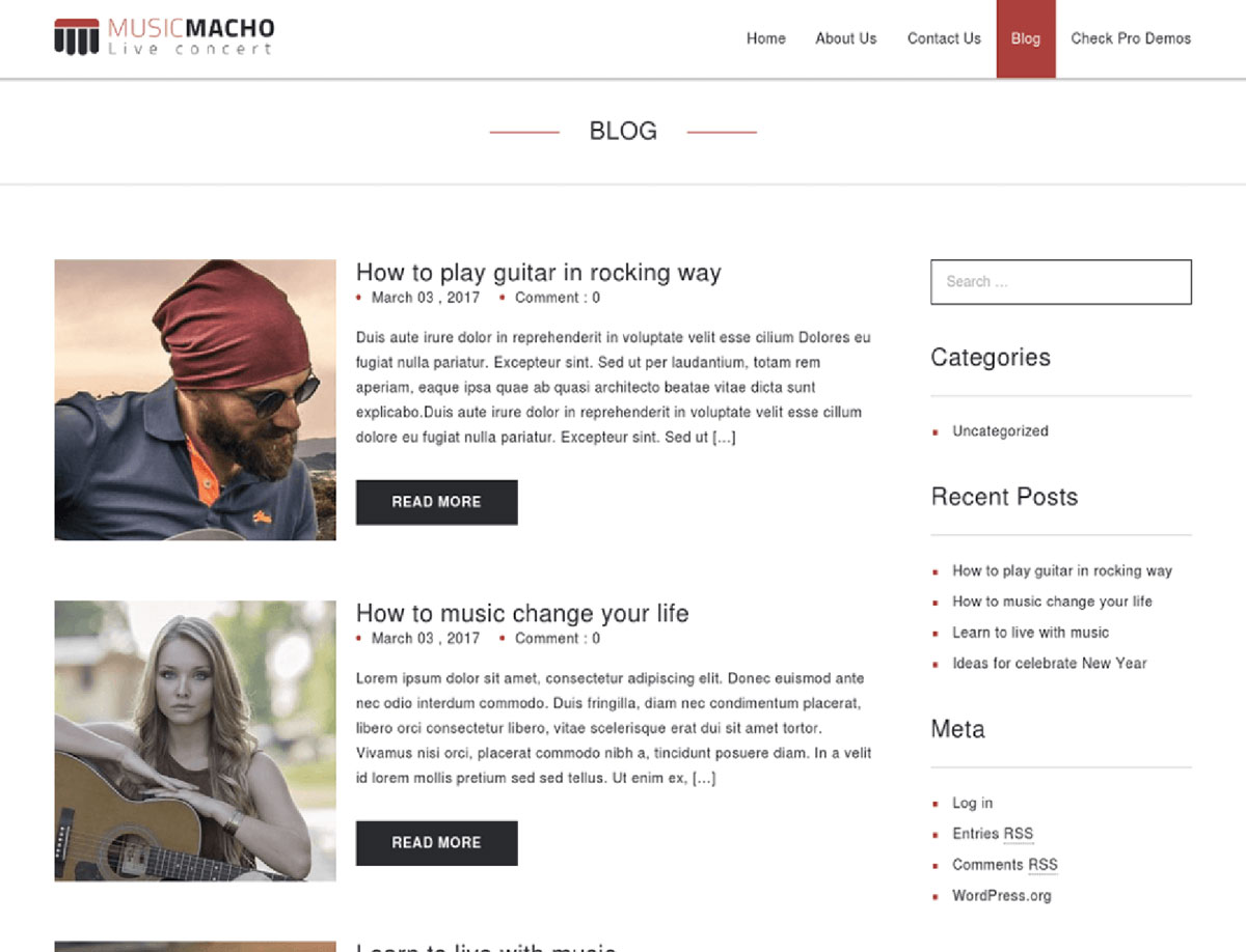 MusicMacho - Free Band WordPress Theme