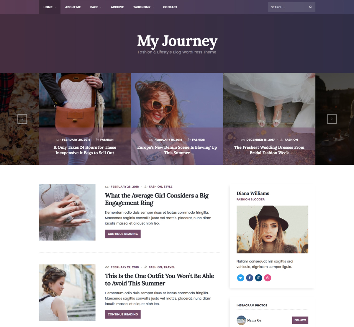My Journey - Lifestyle WordPress Theme