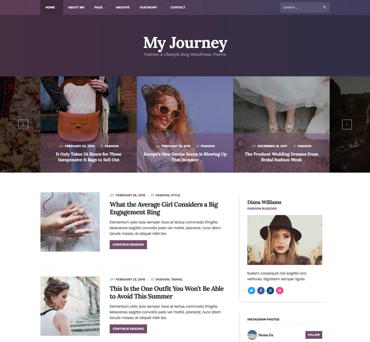 My Journey WordPress Theme