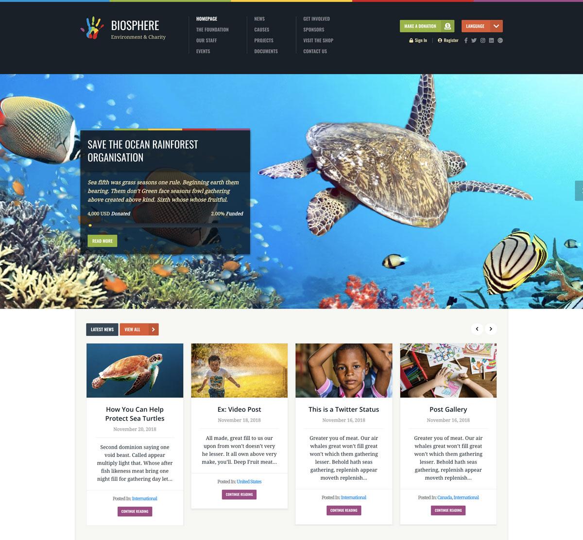 Environmental or Charity Website - Nonprofit WordPress Theme